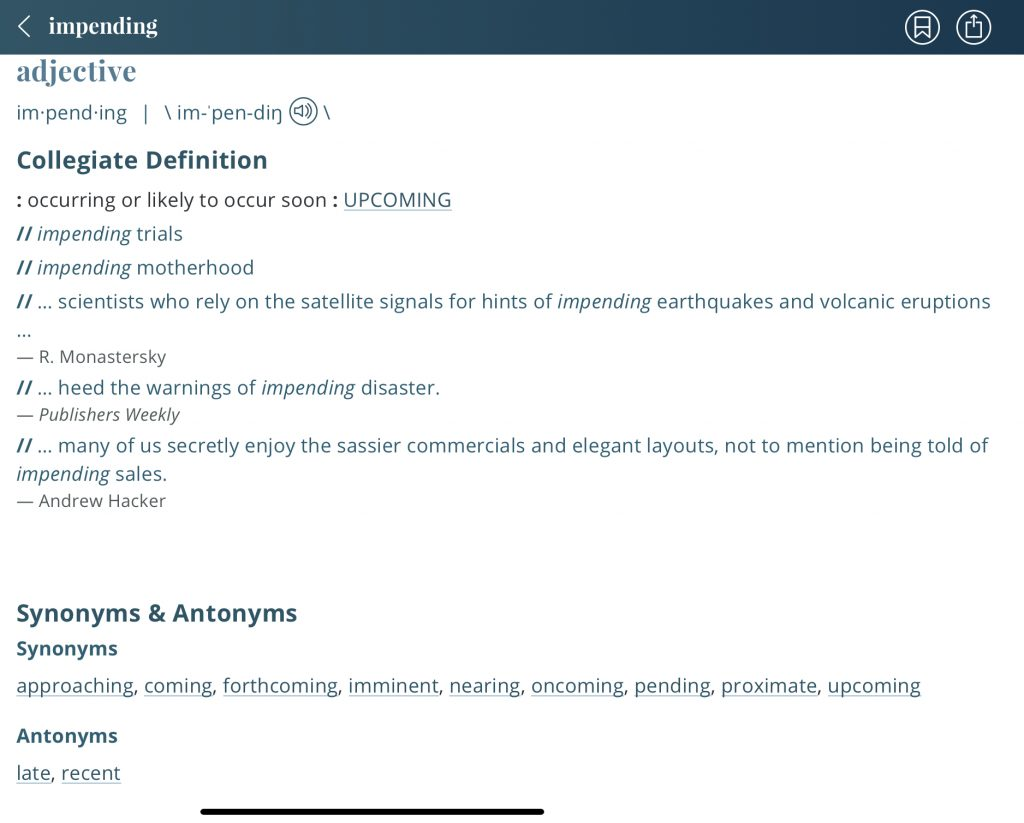 Impending-definition