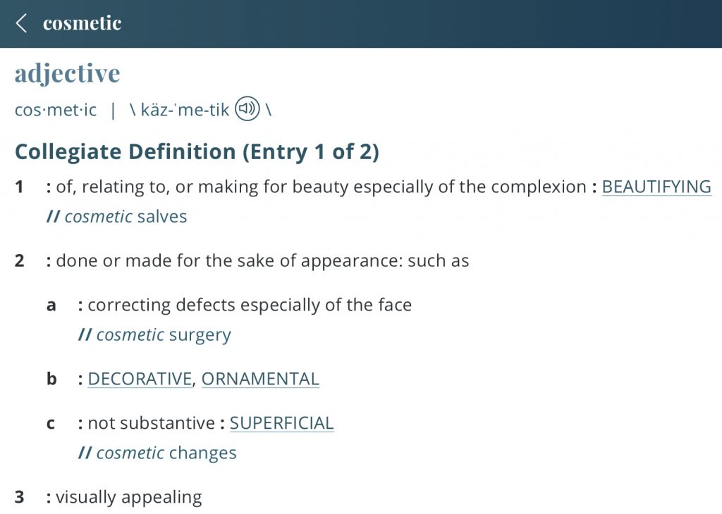 Definition-cosmetic