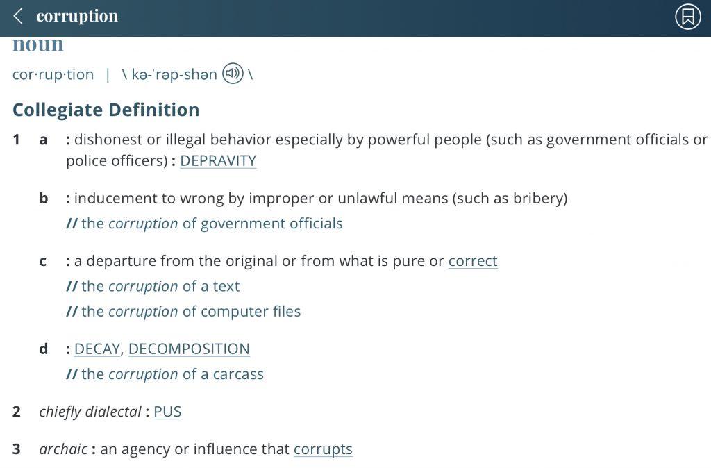 Definition-corruption