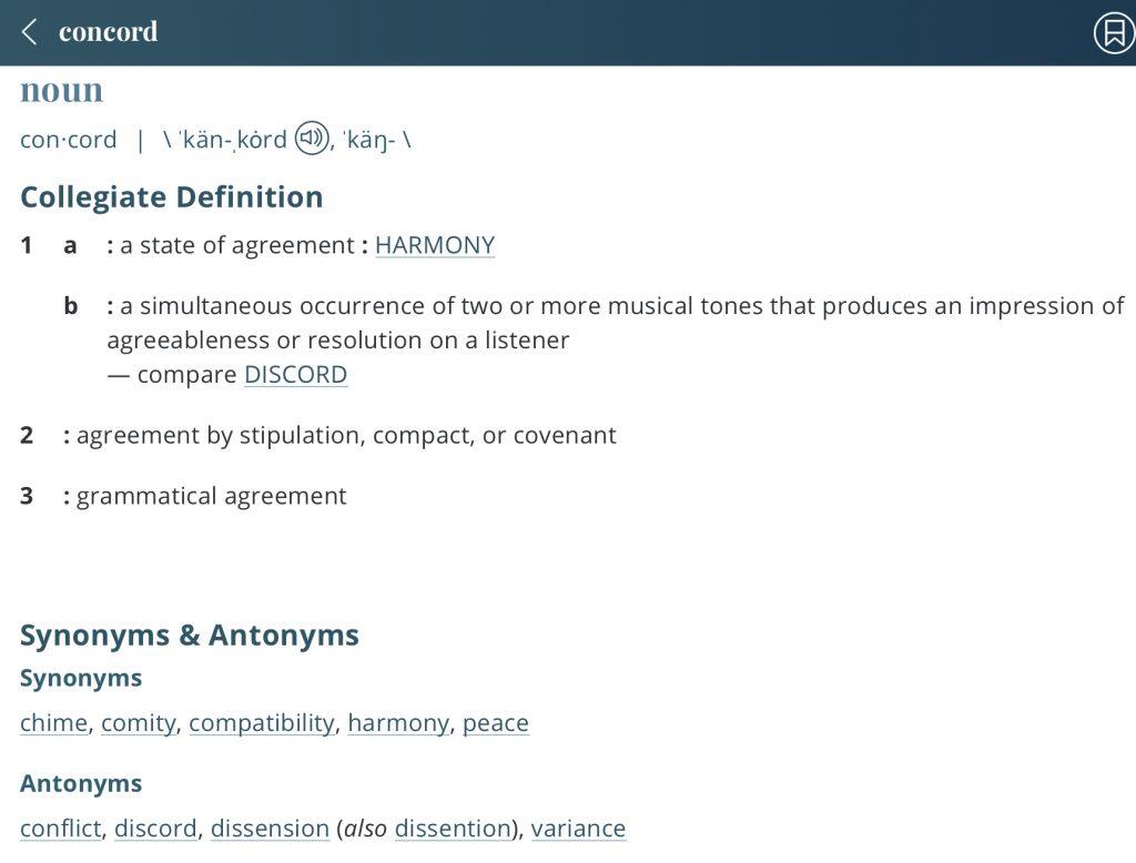 Definition-Concord