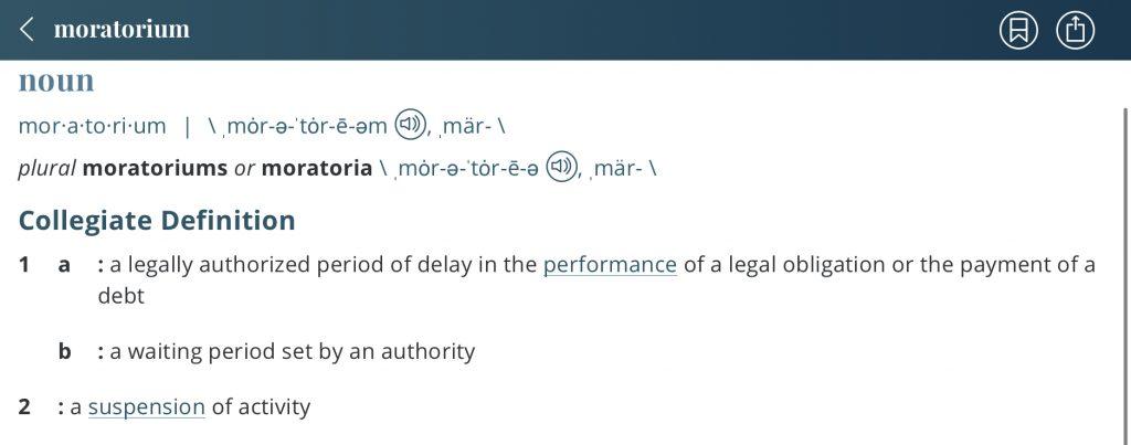 Definition-moratorium