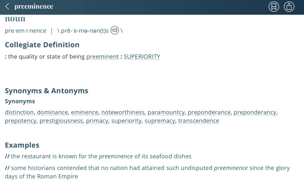 Definition-preeminence