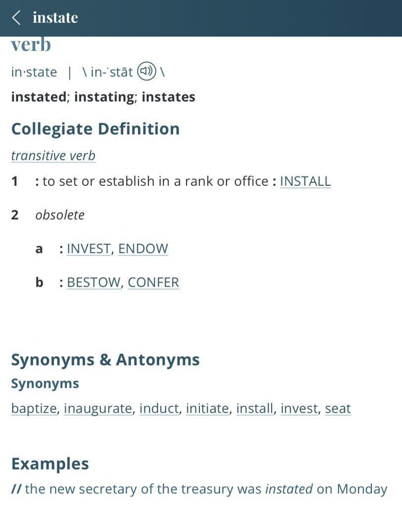 Definition-instate