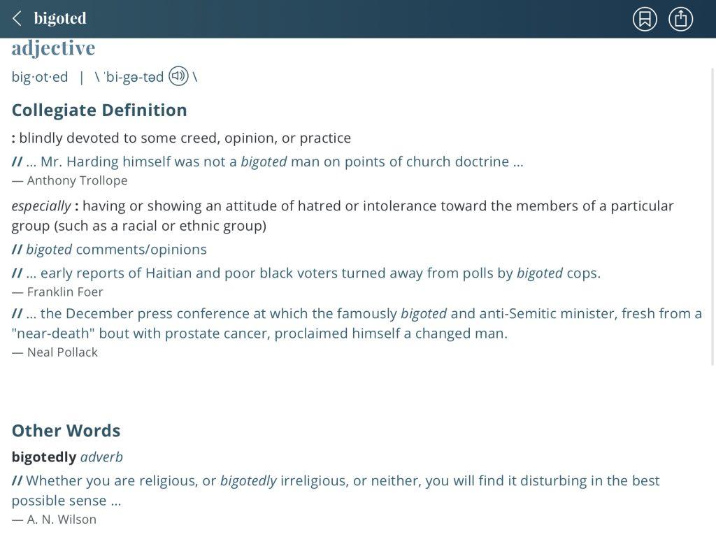 Definition-bigoted