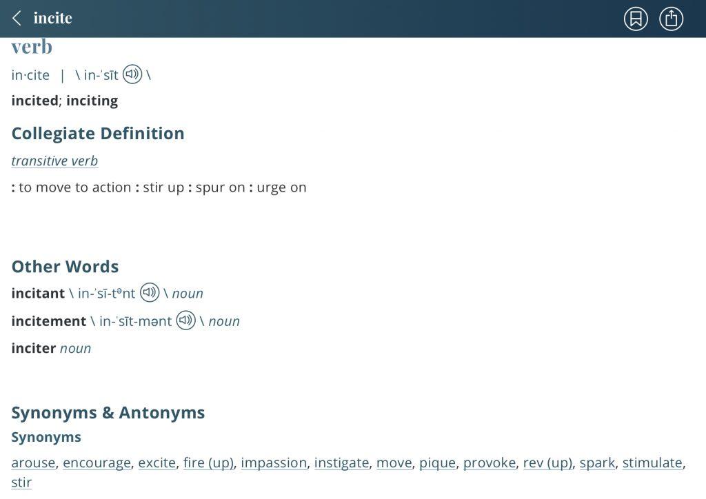 Definition-incite