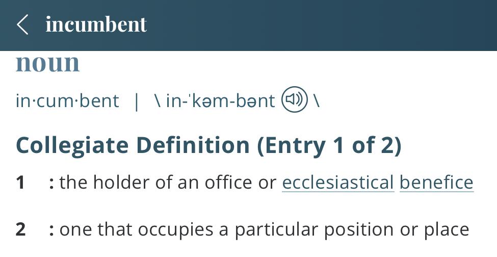 Definition-incumbent