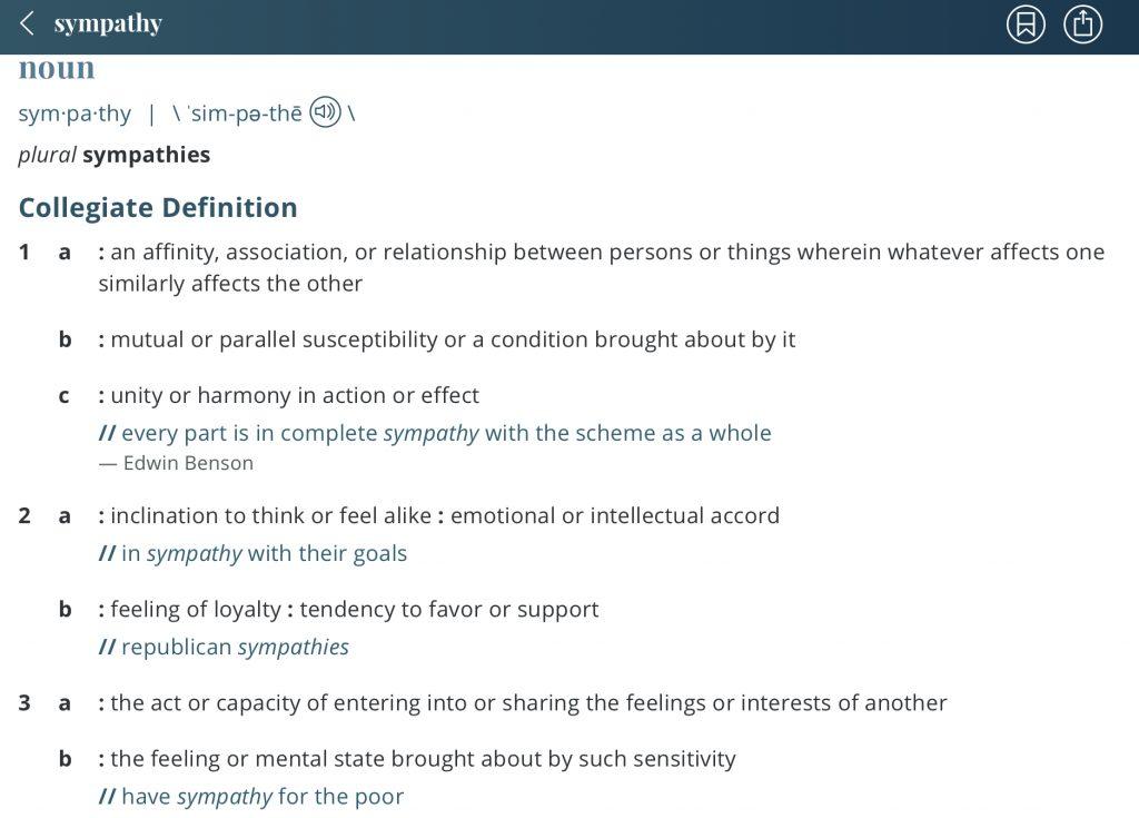 Definition-sympathy